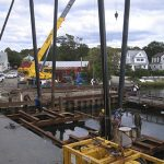Workers Replacing Shiplift Next to Dock Near Bridgeport, CT