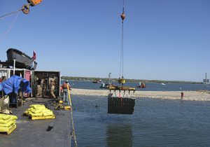 Concrete Blanket Being Lowered Into Water Near Long Island, NY