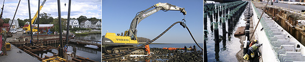 Three Images of Heavy Marine Construction Dockside